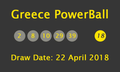 Greece Powerball Results and Payouts on Sunday, 22 April 2018